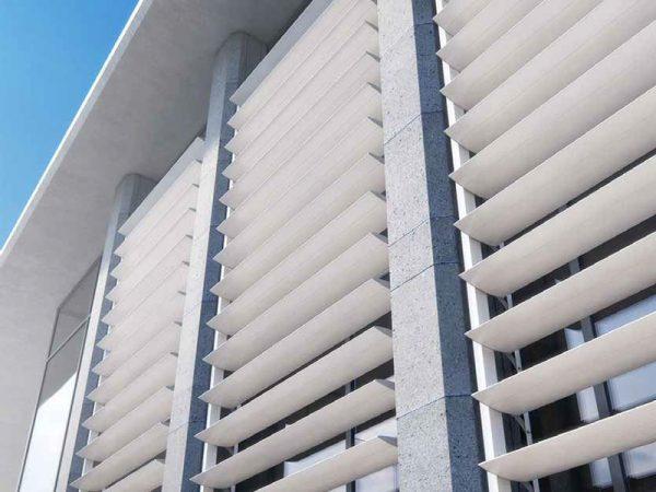 Aluminum solar shading / for facades / vertical / horizontal